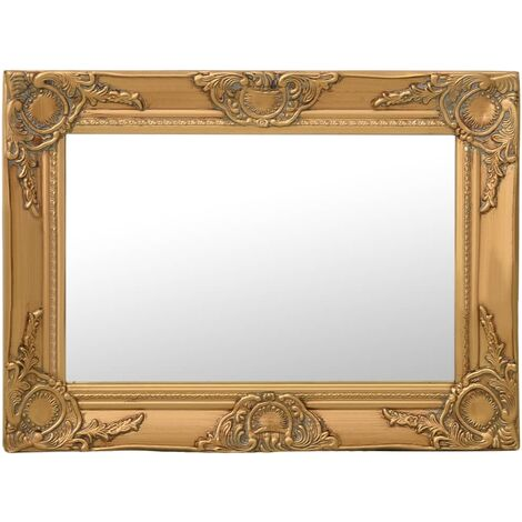 Wall Mirror Baroque Style 60x40 cm Gold