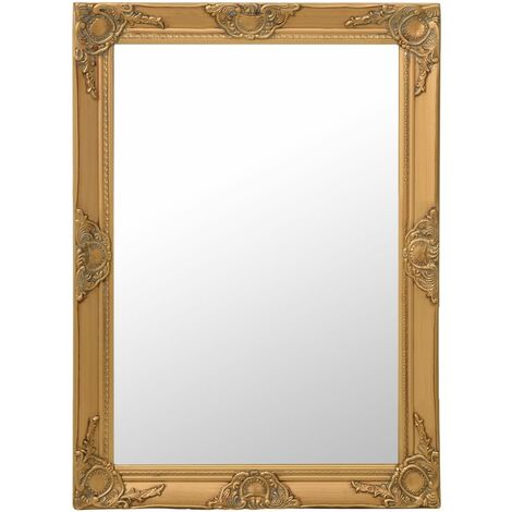 Wall Mirror Baroque Style 60x80 cm Gold