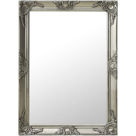 Wall Mirror Baroque Style 60x80 cm Silver
