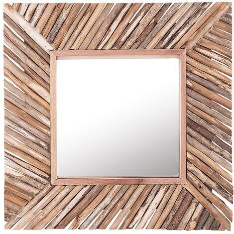 Wall Mirror Light Wood Rustic Square Wooden Frame Decorative 61 x 61 cm Kanab