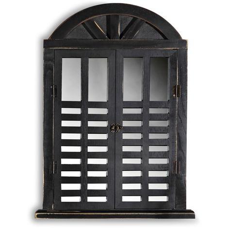 Wall Mirror Shutter Cloakroom Mirror black Decor Mirror Shabby