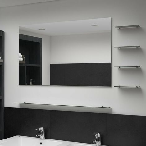 Wall Mirror with 5 Shelves Silver 100x60 cm