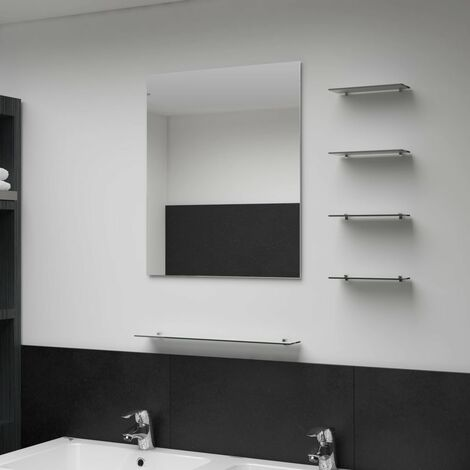 Wall Mirror with 5 Shelves Silver 50x60 cm