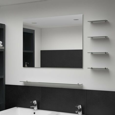 Wall Mirror with 5 Shelves Silver 80x60 cm
