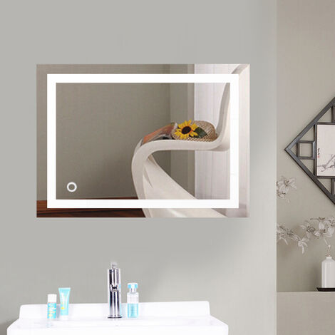 Wall Mirror with LED Lighting Touch Switch Illuminated Bathroom Mirror