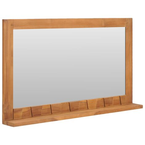 "main image of ""Wall Mirror with Shelf 100x12x60 cm Solid Teak Wood"""