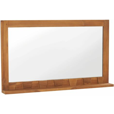 """main image of """"Wall Mirror with Shelf 100x12x60 cm Solid Teak Wood - Brown"""""""