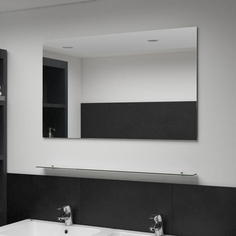 Wall Mirror with Shelf 100x60 cm Tempered Glass