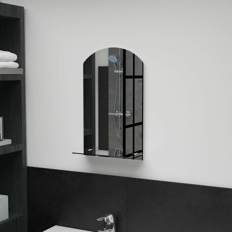 Wall Mirror with Shelf 30x50 cm Tempered Glass
