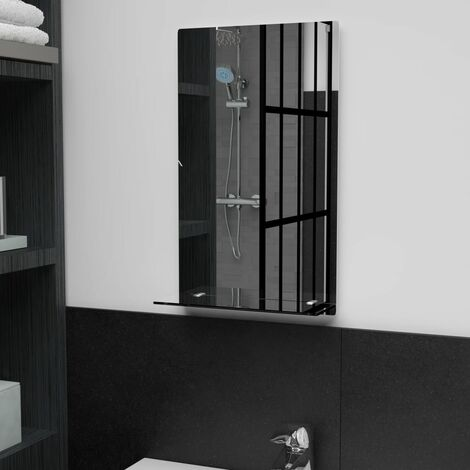 Wall Mirror with Shelf 30x50 cm Tempered Glass - Silver