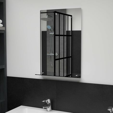 Wall Mirror with Shelf 40x60 cm Tempered Glass