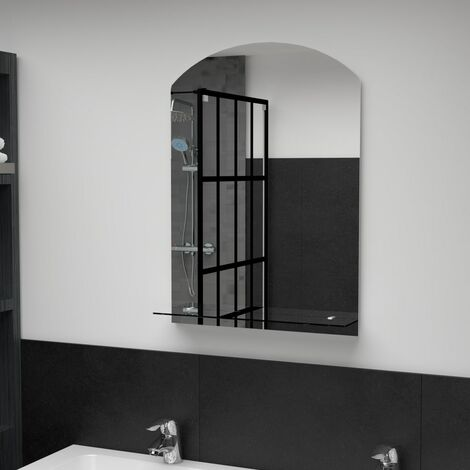 Wall Mirror with Shelf 50x70 cm Tempered Glass