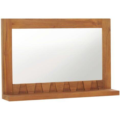 Wall Mirror with Shelf 60x12x40 cm Solid Teak Wood
