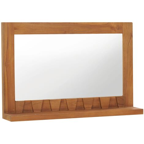 """main image of """"Wall Mirror with Shelf 60x12x40 cm Solid Teak Wood18375-Serial number"""""""