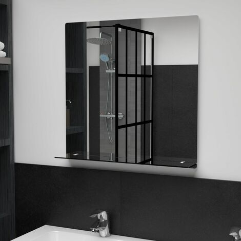 Wall Mirror with Shelf 60x60 cm Tempered Glass