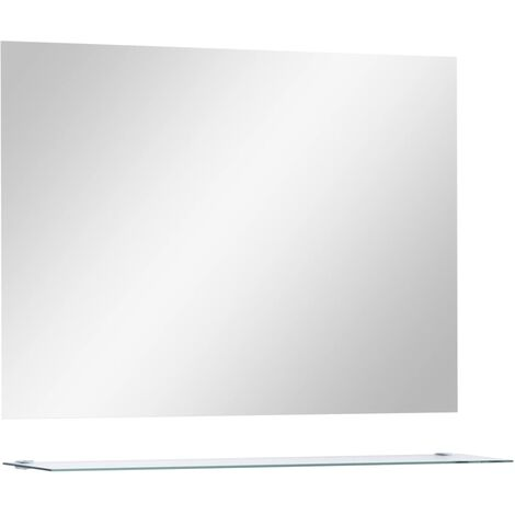 Wall Mirror with Shelf 80x60 cm Tempered Glass