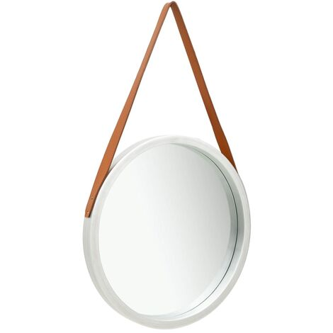 Wall Mirror with Strap 50 cm Silver