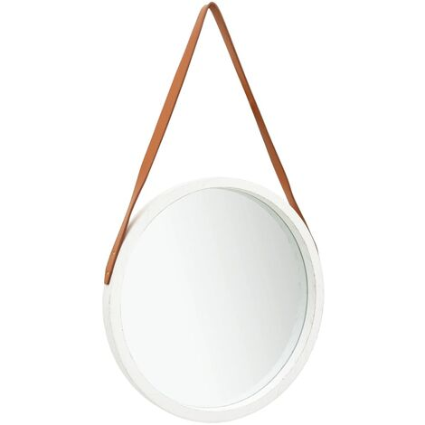 Wall Mirror with Strap 50 cm White
