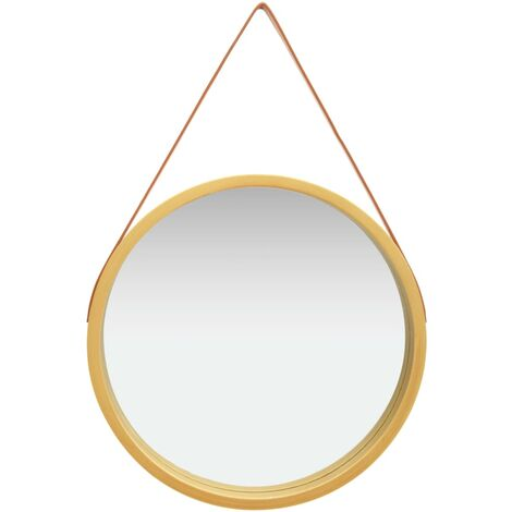 Wall Mirror with Strap 60 cm Gold