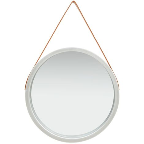 Wall Mirror with Strap 60 cm Silver