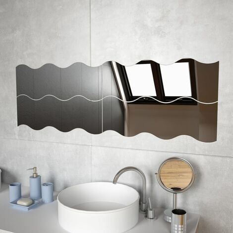 Wall Mirrors 4 pcs 60x18.5 cm Wave Glass