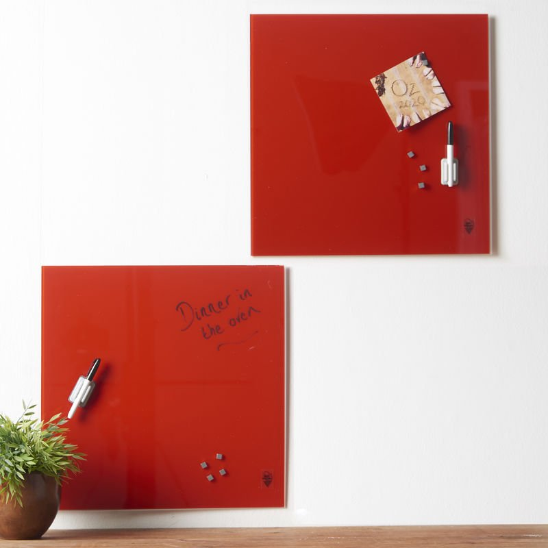 Image of Wall Mount Glass Memo Board 2-Piece Set Pictures Invitations and Reminders