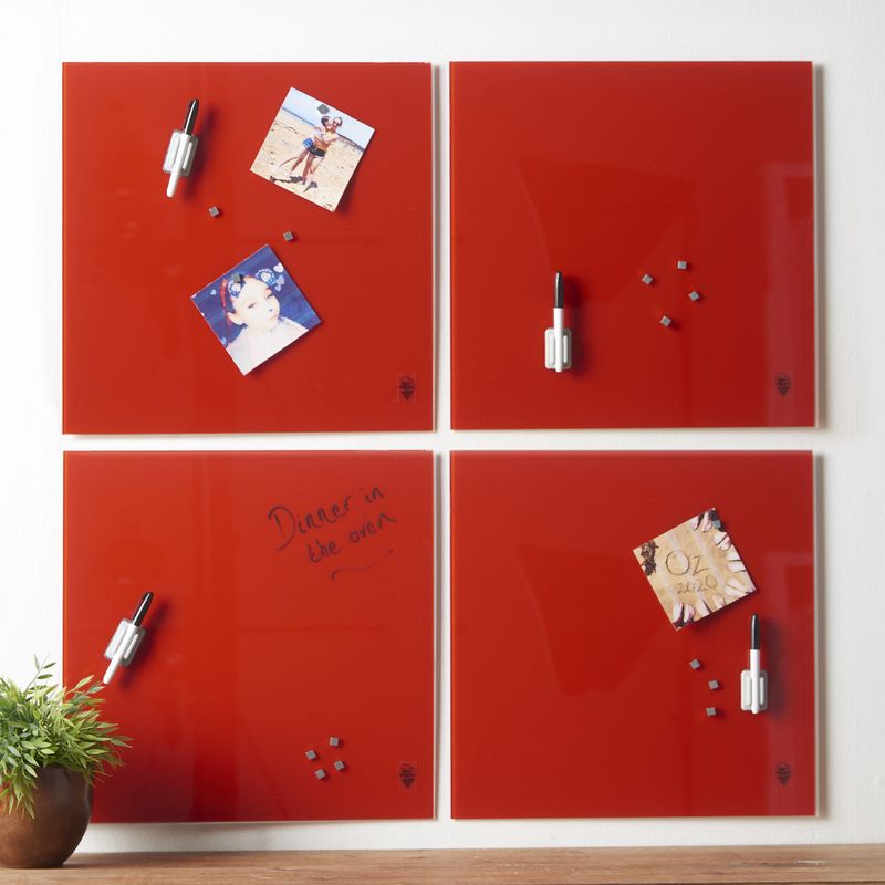 Image of Wall Mount Glass Memo Board 4-Piece Set Pictures Invitations and Reminders