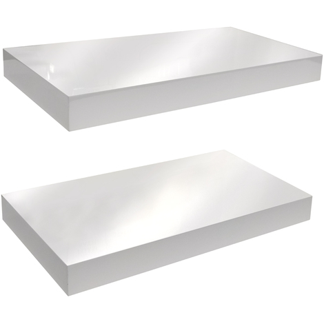 Wall Mounted 40cm Floating Shelf - Pack of Two - White