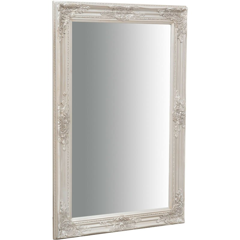 Wall-mounted and wall-hung vertical/horizontal mirror L60xPR3xH90 cm antique silver finish