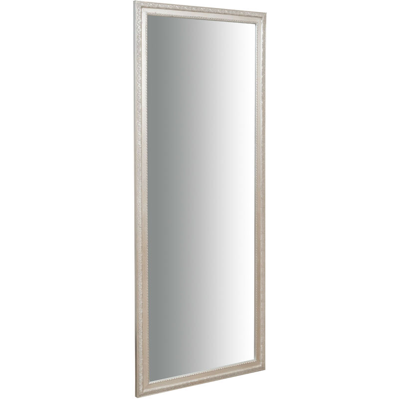 Wall-mounted and wall-hung vertical/horizontal mirror L72xPR3xH180 cm antique silver finish