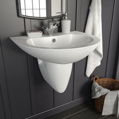 Wall-mounted Basin Ceramic White 520x450x190 mm