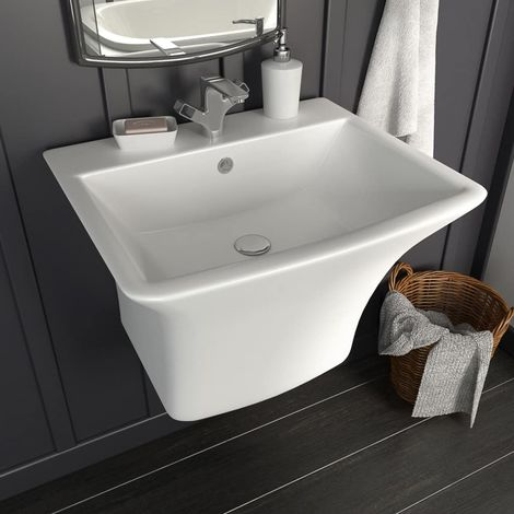 Wall-mounted Basin Ceramic White 530x440x370 mm