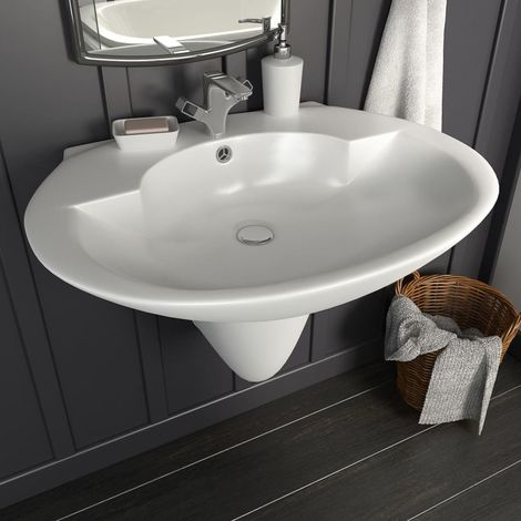 Wall-mounted Basin Ceramic White 690x520x210 mm