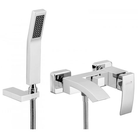 Wall mounted bath mixer chrome shower l