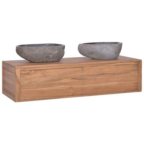 Wall-mounted Bathroom Cabinet 120x45x30 cm Solid Teak Wood
