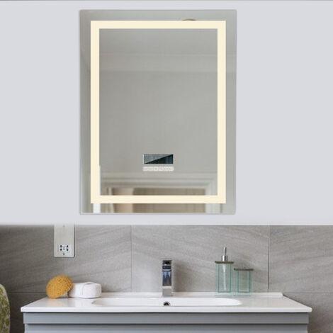 Wall-mounted bathroom mirror with 24 W LED lighting adjustable anti-fog with Bluetooth 60 * 80 CM