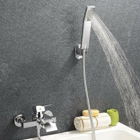 Wall Mounted Bathtub Waterfall Faucet with Hand Shower Lavatory Bath Shower Faucet with Shower Arm Hole Shower System Set