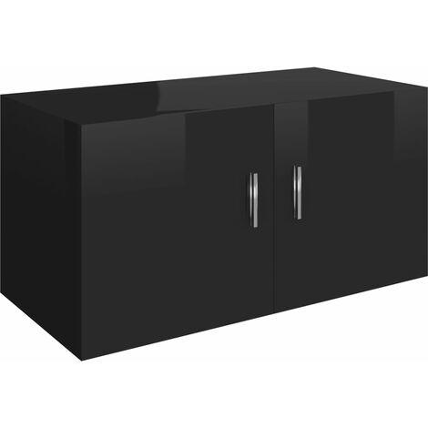 Wall Mounted Cabinet High Gloss Black 80x39x40 cm Chipboard