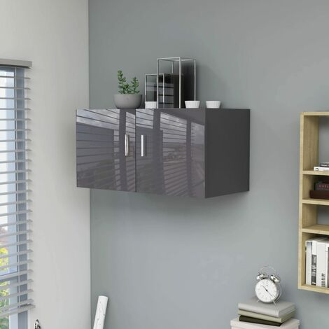 Wall Mounted Cabinet High Gloss Grey 80x39x40 cm Chipboard