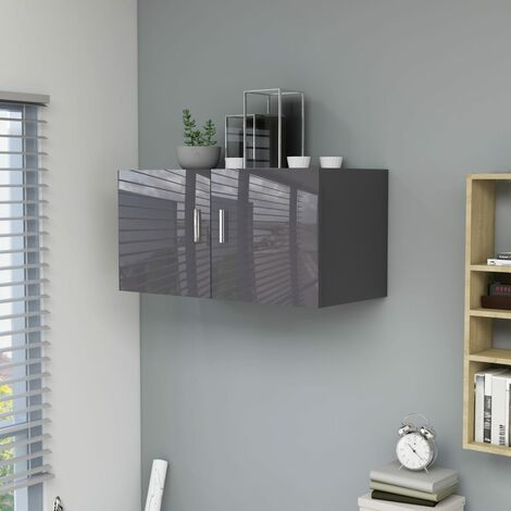 """main image of """"Wall Mounted Cabinet High Gloss Grey 80x39x40 cm Chipboard36811-Serial number"""""""