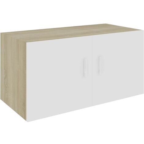 Wall Mounted Cabinet White and Sonoma Oak 80x39x40 cm Chipboard