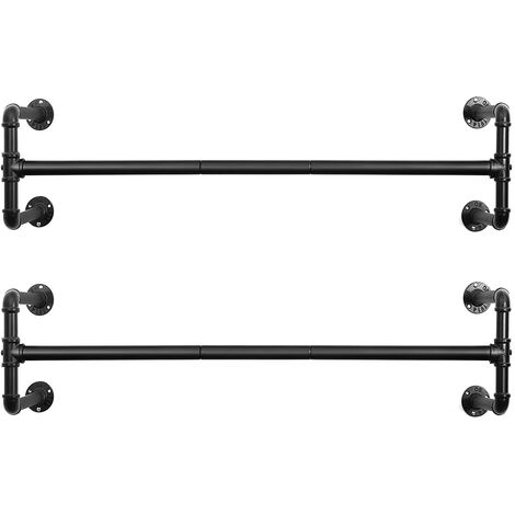 Wall-Mounted Clothes Rack, Set of 2, Industrial Pipe Clothes Hanging Bar, Space-Saving, 110 x 30 x 29.3 cm, Each Holds up to 60 kg, for Small Space, Black HSR64BK-02