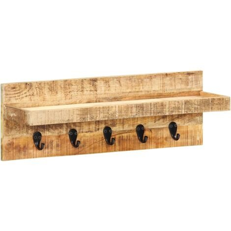 Wall Mounted Coat Rack 60x15x20 cm Solid Rough Mango Wood