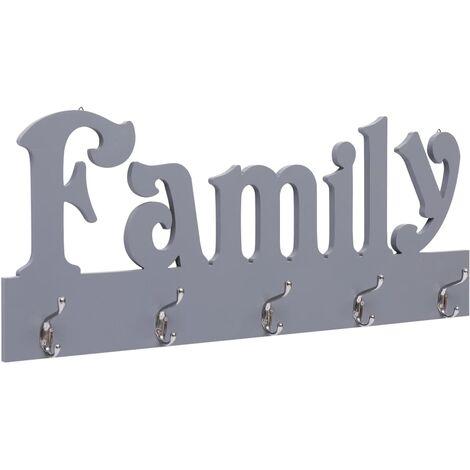 Wall Mounted Coat Rack FAMILY Grey 74x29.5 cm
