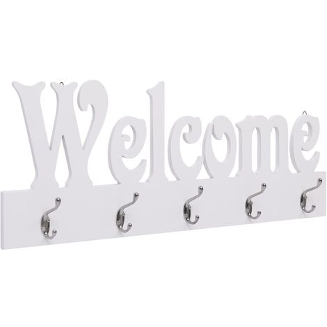 Wall Mounted Coat Rack WELCOME White 74x29.5 cm - White