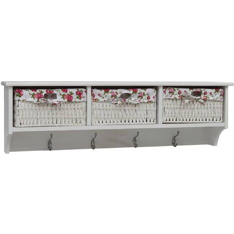 Wall Mounted Coat Rack with 3 Baskets White Wood
