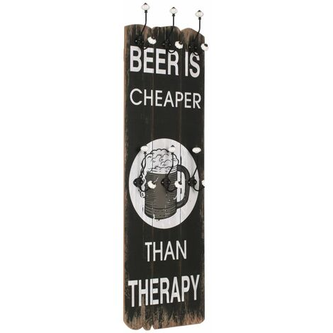 Wall-mounted Coat Rack with 6 Hooks 120x40 cm BEER CHEAPER
