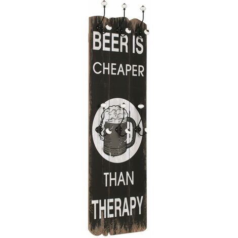 """main image of """"Wall-mounted Coat Rack with 6 Hooks 120x40 cm BEER CHEAPER - Multicolour"""""""