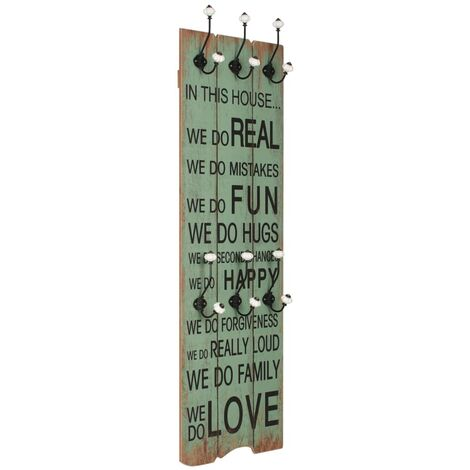 Wall-mounted Coat Rack with 6 Hooks 120x40 cm HAPPY LOVE