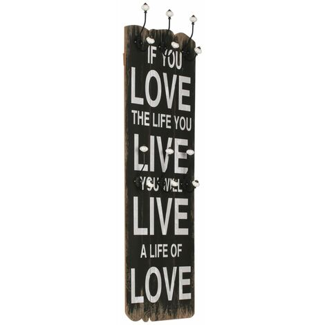 Wall-mounted Coat Rack with 6 Hooks 120x40 cm LOVE LIVE